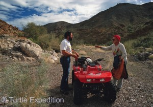 Gary and Granville are discussing the pros and cons of ATV's and Quads.