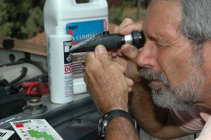 A refractometer can be used to determine the freeze point protection.
