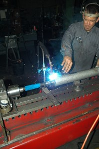 After careful alignment, a new stub-shaft was welded in place.