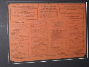 """The menu from 1945 clearly states, (lower left corner, """"NO SERVICE LESS THAN .25c PER PERSON"""""""