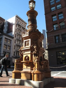 The famous Lotta's fountain on Market Street was dedicated on September 9, 1875 and the cast iron pillar was donated by Lotta Crabtree in 1916.