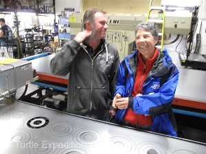 During a tour of the expanded ATS manufacturing facilities owner, Clint Cannon, showed Monika the new Ubangi earrings he is making. You can tell, we were all laughing!