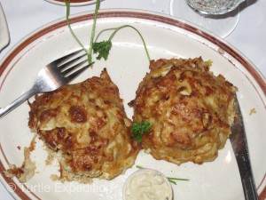Fresh crab cakes!! Trust us, they taste better than they look.