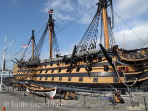 The HMS Victory is a 104-gun warship of the Royal Navy. Launched in 1765, she is most famous as Lord Nelson's flagship.