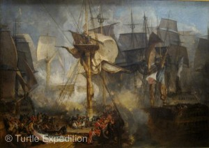The Battle of Trafalgar in 1805 stopped the French and Spanish armada in their tracks and gave the British supreme control of the seas for a hundred years.