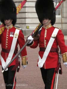The Flag Bearers. See the different placement of buttons? On the right is an Irish Grenadier Guard---we think.