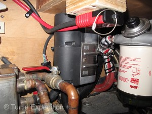 The D5 Hydronic heats coolant which is directed through a series of valves to the engine, the FlatPlate heater, or the Hunter radiator in the camper.
