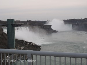 On our way south, we snapped this photo of Niagara Falls as we crossed the Rainbow Bridge.