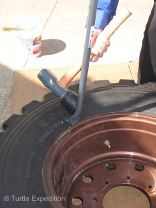 A T52 Bead Breaker and T35 Heavy Duty Tire Hammer were used to separate the tire from the rim. We could also use our Hi-Lift Jack for the job.