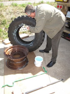 Plenty of lube on the bead and rim makes the job much easier. We carry a small jar of Tire Slick tire-mounting lubricant for this purpose.