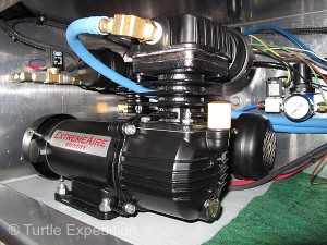 Our dual ExtremeAire Velocity 12-volt air compressors by Extreme Outback Products quickly aired up the tire to 65 psi.