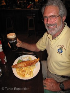 Arriving in England, it was time to pop into a pub have pint ale and some proper fish & chips.