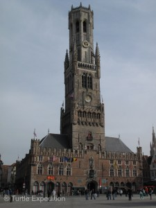 The 83-meter high belfry with its 47-bell carillon is and easy landmark from just about anywhere.