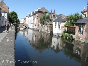 Brugge is circled and criss-crossed by peaceful canals.
