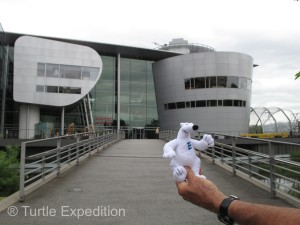 Bertrand, the bear from the Espar factory, got to tour The Volkswagen Transparent Factory.