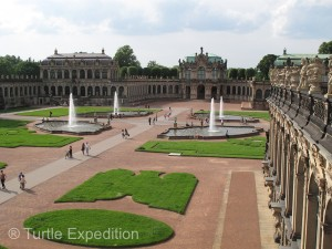 The interior court of the Zwinger is very popular with tourists.