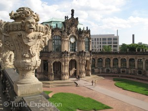This section of the Zwinger houses a world renouned porcelain collection. The clock rings on the hour with bells of what else, porcelain.