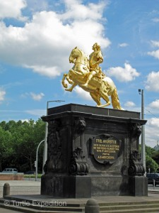 The Goldener Reiter statue (1736), showing Augustus the Strong, the Elector of Saxony and King of Poland, dressed as a gilded Roman Emperor.