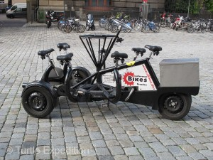 You can tour the city on a bicycle built for seven. Everyone peddles. Looks like fun!