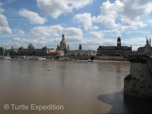 The surging Elbe River had crested 6 meters, (19.5 ft), above normal, swamping much of the city's riverfront.