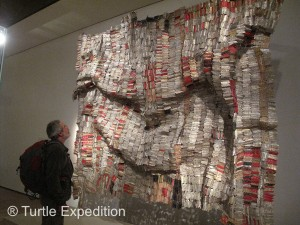 Museums have their points of interest, but this wall hanging made of thousands of wine bottle foils made Gary wonder why. Surely the artist didn't drink all that wine -- or maybe he did.