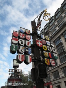 "On the 700th anniversary of the Swiss Confederation, this area was named the ""Swiss Court"" as a token of the lasting friendship between Switzerland and the United Kingdom. The Cantonal Tree displays the coats of arms of the twenty-six cantons of Switzerland."