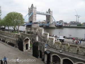 Viewed from the ramparts of the Tower of London castle, the Tower Bridge is a major landmark of the city.