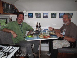 Our Tortuga Camper was a little bigger than Thomas's Toyota, so he joined us for dinner.