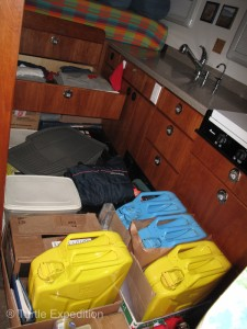 The inside had been carefully packed for a possible rough sea. One of our clothes drawers had come open.