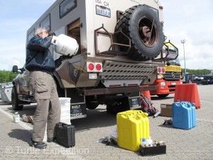 Repacking the truck went quickly. Our full propane tanks had not been a problem because they were not mounted outside.
