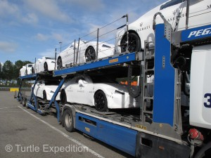It was Interesting to park next to a car-hauler carrying half a million dollars' worth of plastic-wrapped sheet metal.