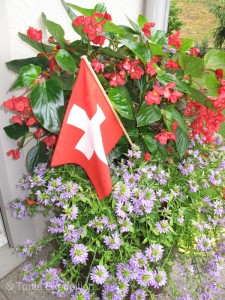 Every house is decorated with Swiss flags and red cups with candles