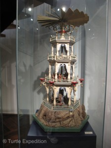 Some of the Christmas Pyramids on display in the Erzgebirge Toy Museum were very elaborate.