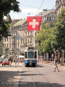Modern trams are the best way to get around the beautiful city of Zurich.