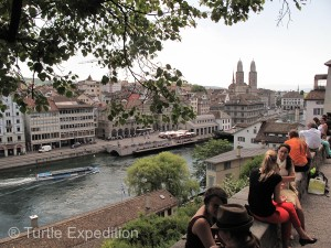 The Limmat River flows out of Lake Zurich through the center of town.