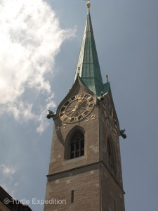 The steeple of the St. Peter church, one of the four main churches of the old town of Zurich, features a clock face with a diameter of 8.7 m, (28.5 feet). It is the largest church clock face in Europe. The bells date to 1880.