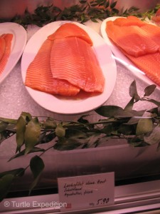 Salmon: $6.29 per 100 grams ($31.45 a pound)