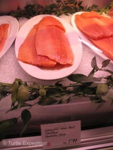 Salmon: $6.29 per 100 grams ($31.45 a pound)