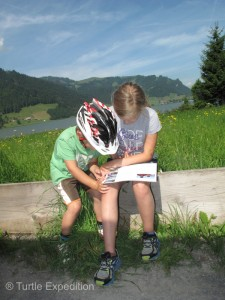 Children love to look at the photos on our information card. Some will go to our website, translate it into German, French, Italian or Spanish and follow our adventures.most famous pilgrimages sites in Switzerland.