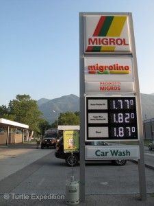 Diesel was about normal price: sFr.1.87 or if you must know, $7.08 a gallon. It up to $7.38 now, since all of Europe is on vacation.