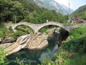 The beautiful stone bridge in Lavertezzo was worth a stop.