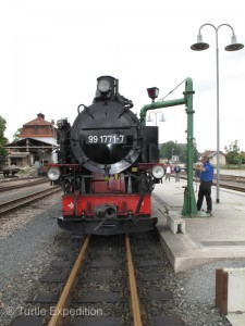 At the end of the track we waited for the boiler to be refilled with water.