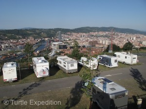 After following our Garmin GPS on a tortuous route through downtown Bilbao including a one-lane road that required low-range to navigate, we arrived at a beautiful RV campground overlooking the city. Yes, there was an easier way.