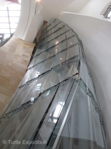 The interior glass walls of the Guggenheim Museum seem to defy the limits of structural engineering.