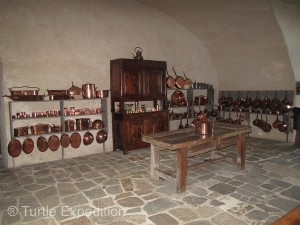 The Château's kitchen was very impressive with all its copper kettles.