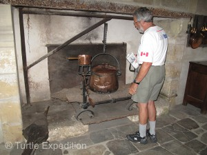 Gary is inspecting the castle kitchen's hearth.