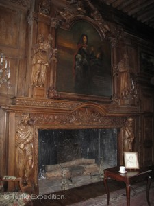 One of the living rooms fire places showed an exquisitely carved mantle.