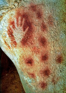 This prehistoric hand print's artist blew ground iron ore around his hand.