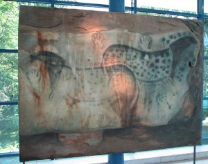 This is a replica of the most famous painting at one of Pech Merle's underground walls: spotted horses and hands.