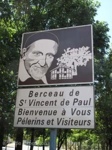 This sign announces the birthplace of St. Vincent de Paul.